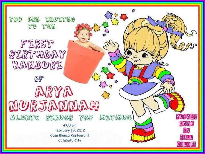 Rainbow Brite Birthday Party Invitation Digital U We Made Photo Invitations